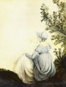 Watercolor of Jane Austen done by her sister Cassandra on a hot summers day. One of the only two verified portraits of Jane Austen done during her lifetime, both by Cassandra.