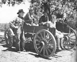A Mississippi family traveling in wagon very much like the on owned by the Bundrens.