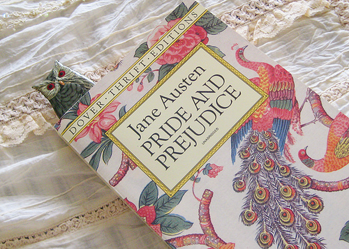 Pride and Prejudice by Jane Austen. I've already read this book- I love it- and I can't wait to reread it-- and read the rest of Austen!
